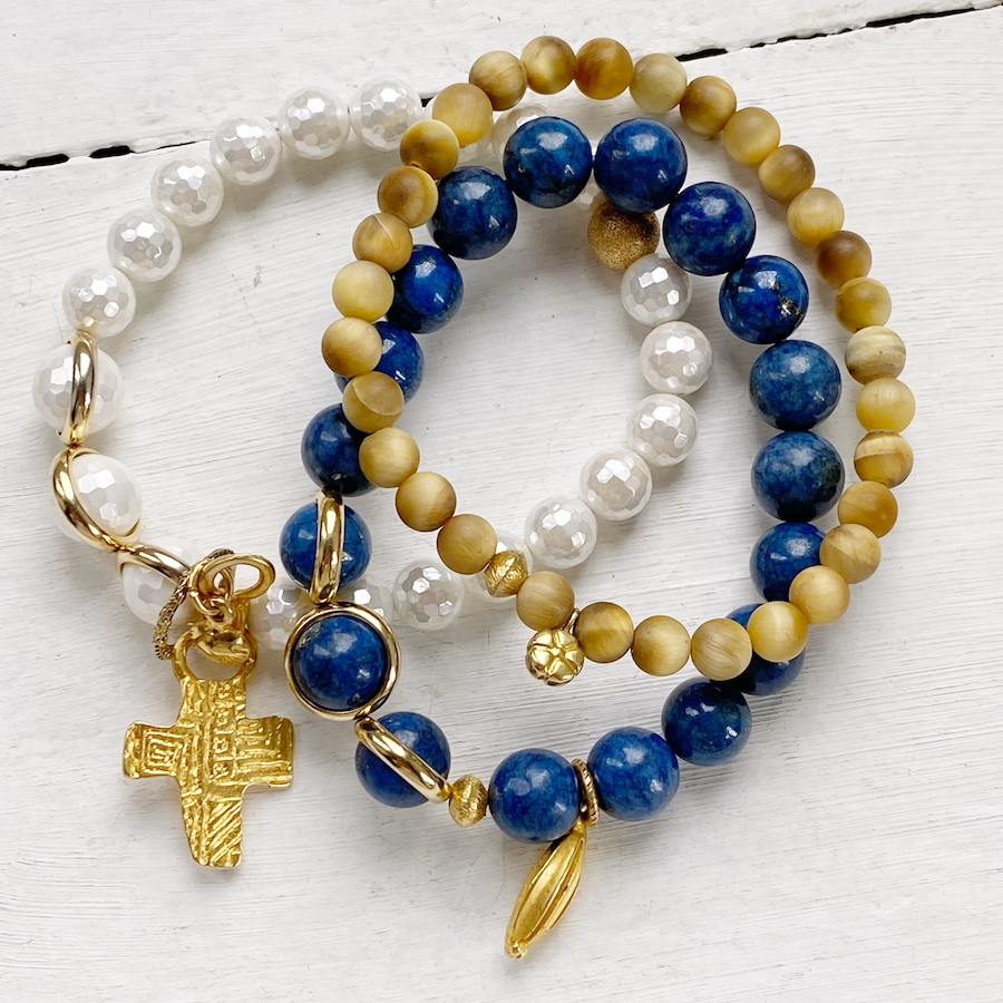 Triple Stretch with Gold Cross Charm