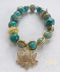 Golden Tiger Beaded Stretch Bracelet